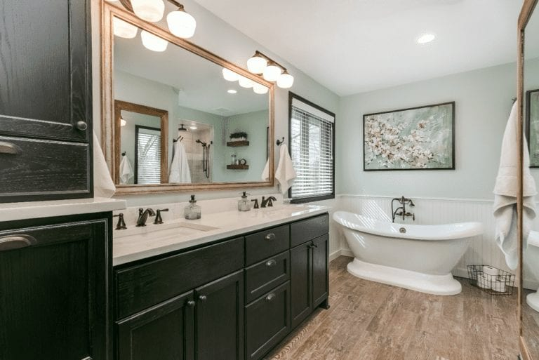 bathroom remodel with standalone tub