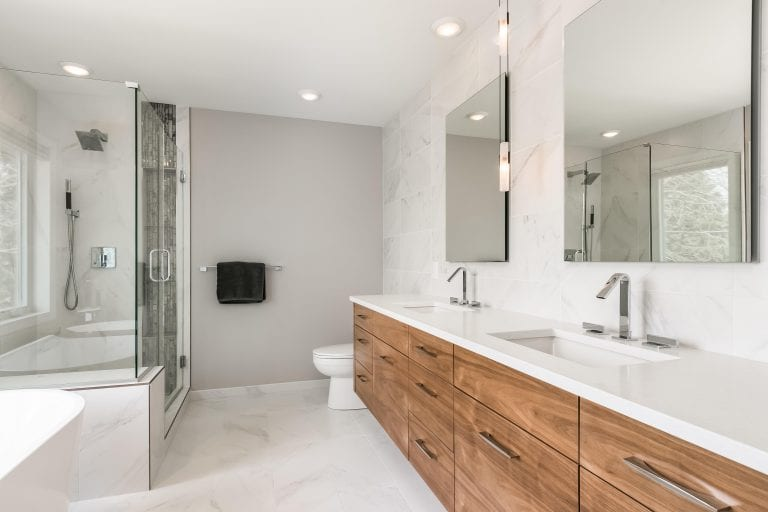 bathroom remodel | white finishes and standalone tub