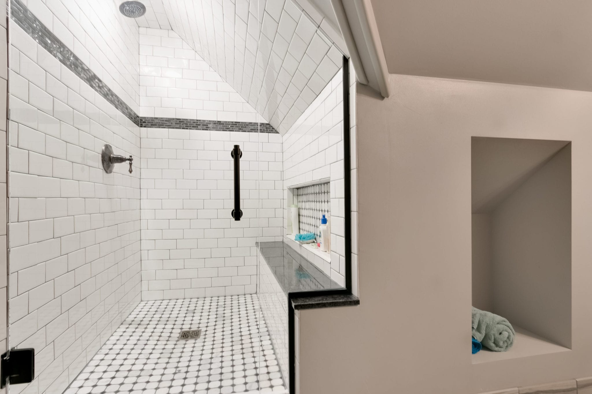 bathroom remodel with shower bench   fbc remodel