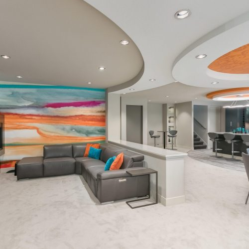 Basement Finish with Bold Accent Wall | FBC Remodel