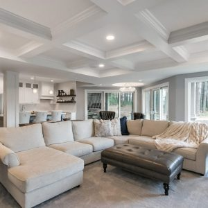 basement remodel with open-concept spaces | living room